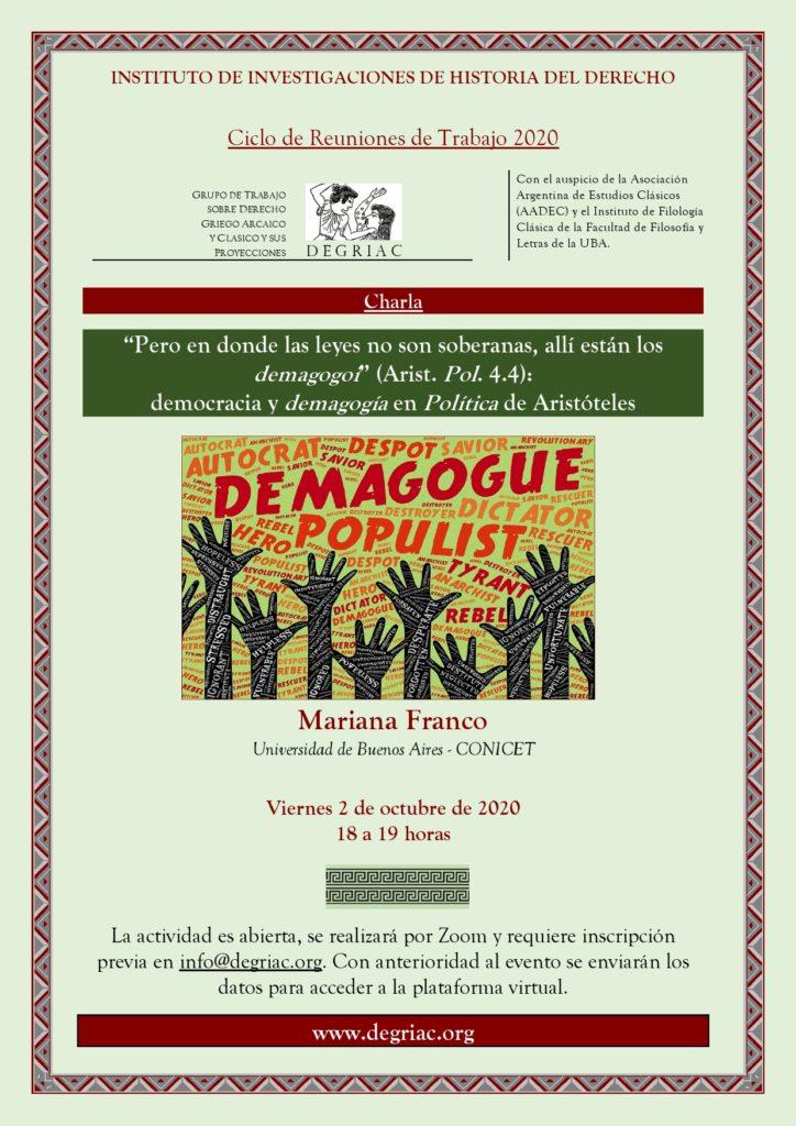 Afiche reunión DEGRIAC Franco 2020
